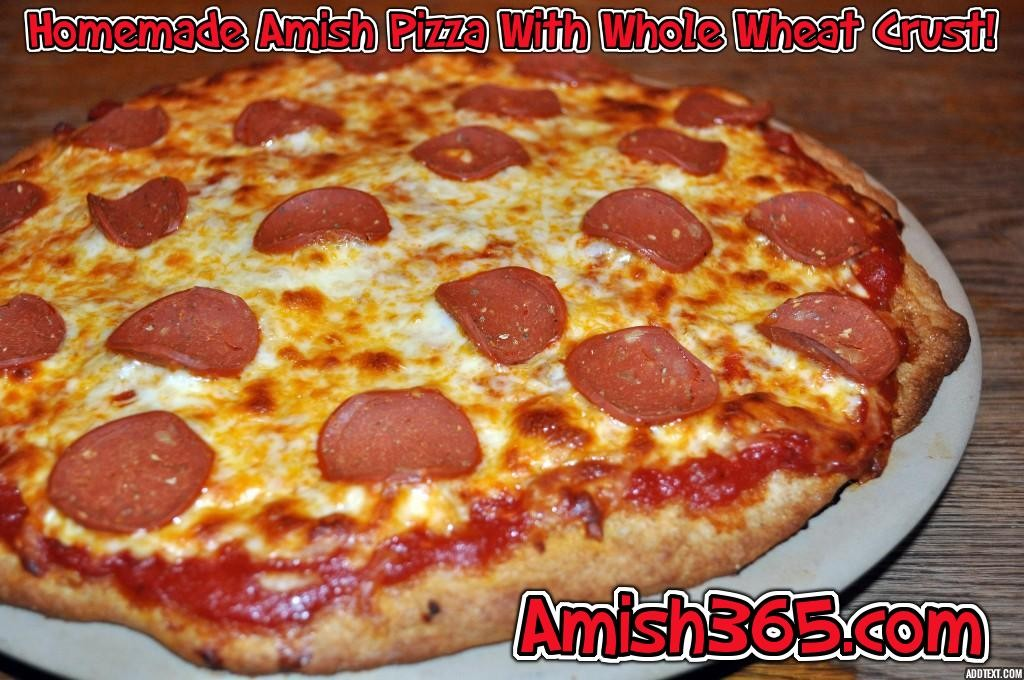 A homemade Amish recipe pizza using whole wheat flour from an Amish-run mill.  I like my crusts crispy!
