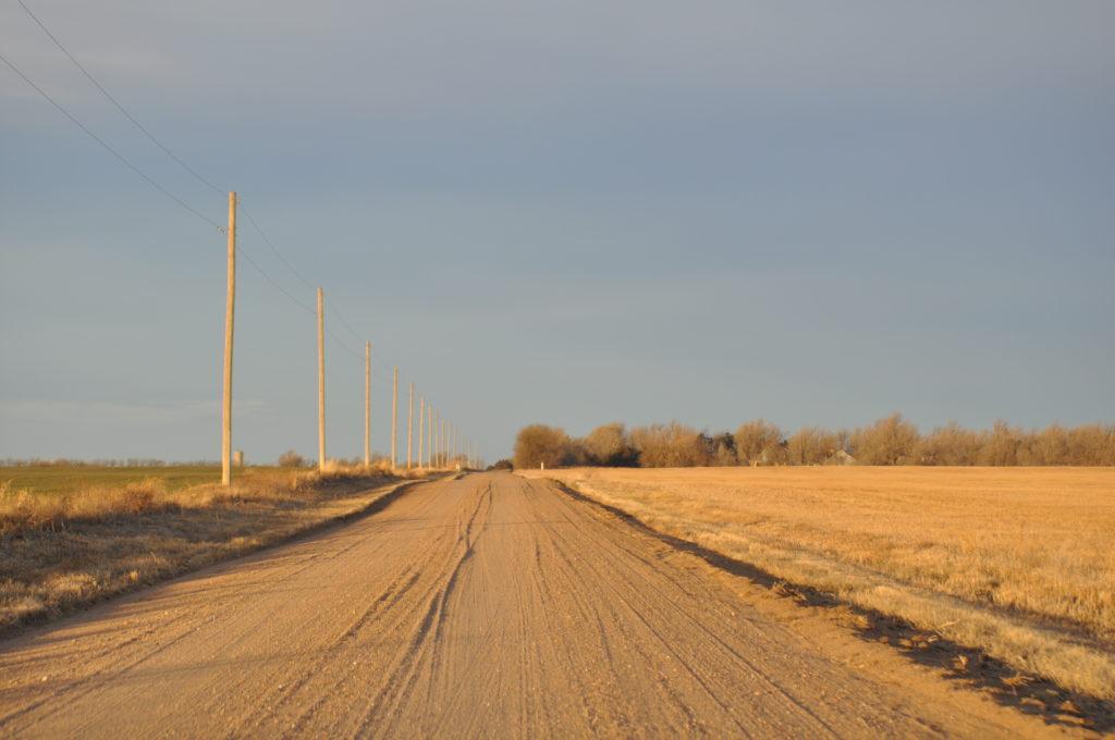 Kansas prairie road, perfect for a hayride!