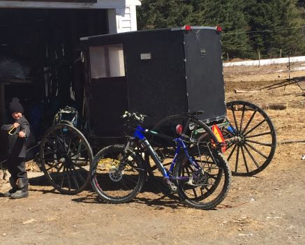 A covered buggy sits in Chris Speicher's driveway.  As you can see bicycle are permitted here.