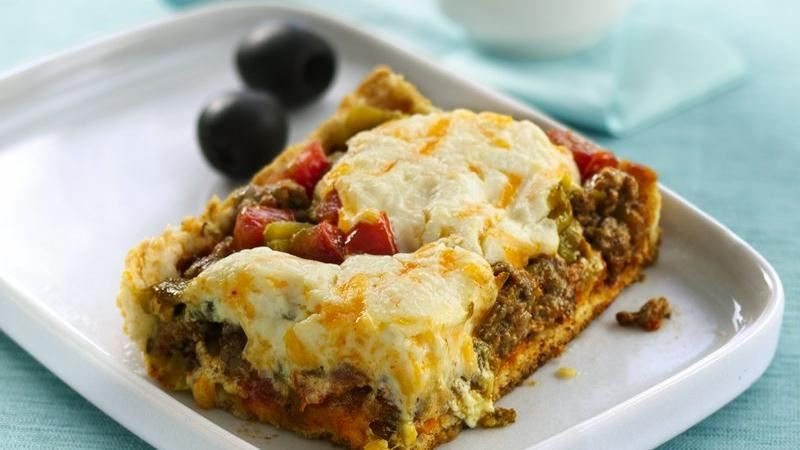 DEEP DISH TACO SQUARES:  This photo is from the Betty Crocker kitchen, but all versions look pretty much the same.  Enjoy!