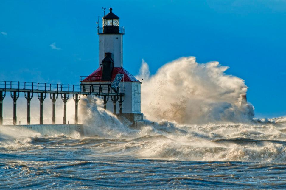 Michigan City pier as captured by Peter Jangle on a rough surf day.