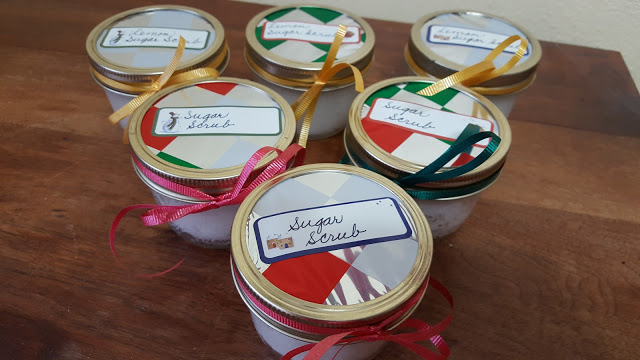 Homemade sugar scrubs with a touch of Amish bulk food store bought lemongrass