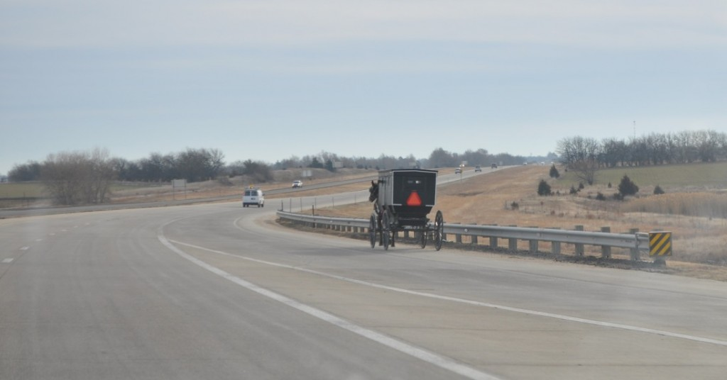 A buggy merge onto the freeway near Yoder, Kansas