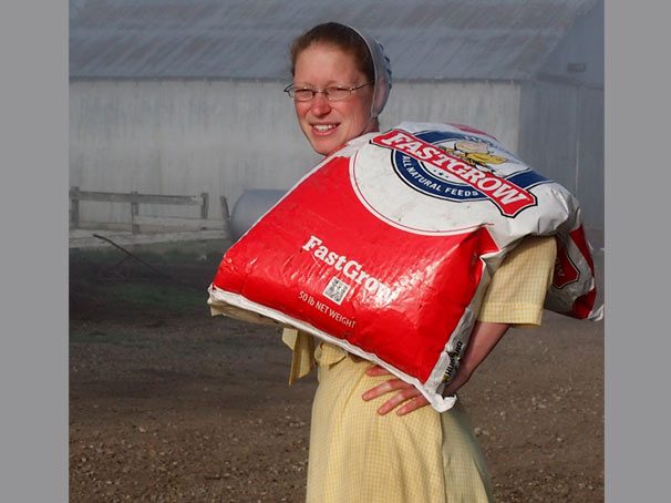 Rosanna on the farm, she does it all...lifting bags to baking biscuits
