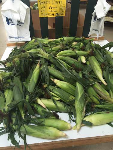 Fresh, seasonal sweet corn in an Amish bulk food store in Wayne County, Indiana