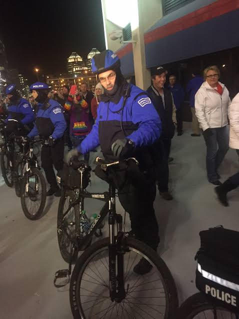 """Police came in eventually and made a """"bicycle barricade"""" to separate the two sides."""