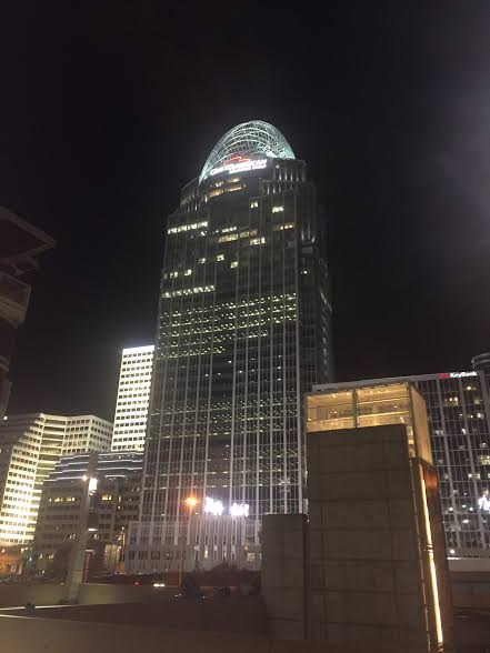 Above all the din, the stately,  41-story Queen City Tower with its glittering tiara keeps watch...