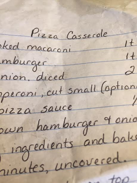 Pizza casserole...author, unknown, unfortunately