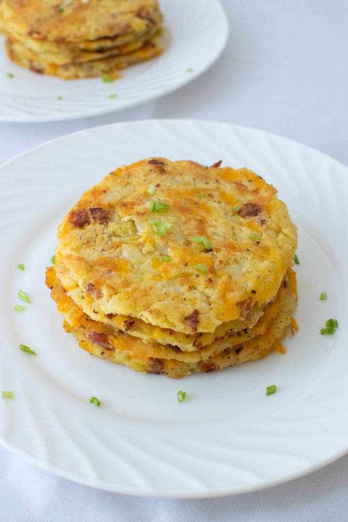 A delicious stack of potato bacon pancakes