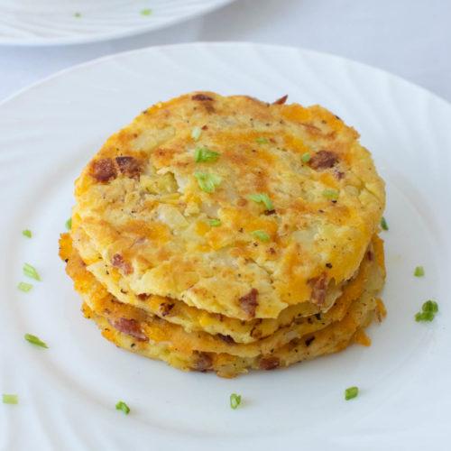 Delicious golden potato bacon cakes